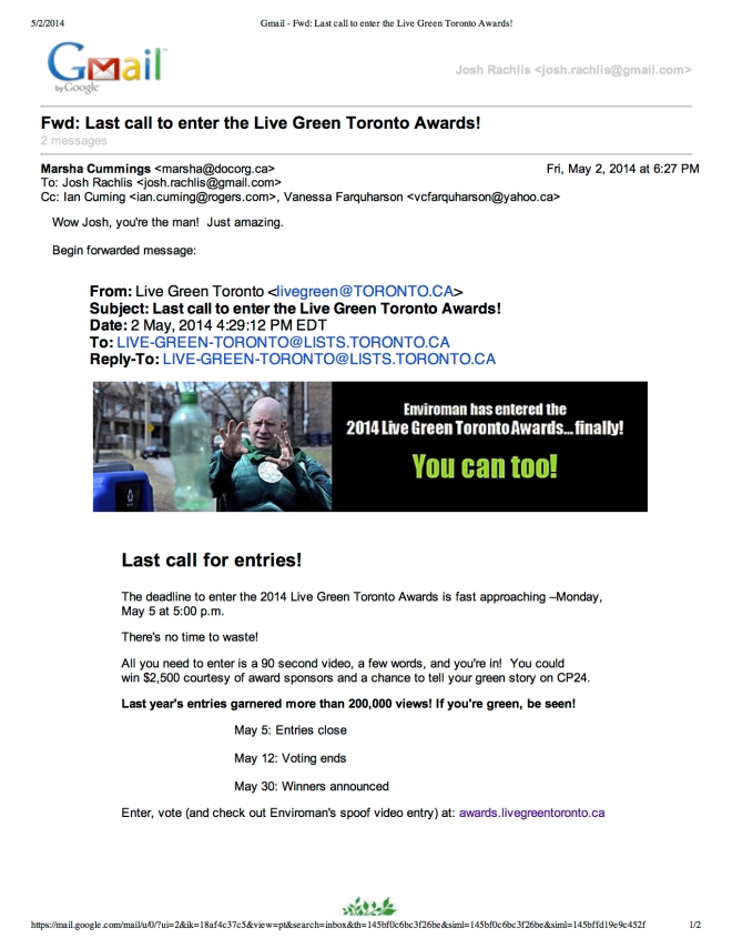 Gmail - Fwd_ Last call to enter the Live Green Toronto Awards!