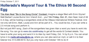 Song contest for Ottawa International Writers Festival
