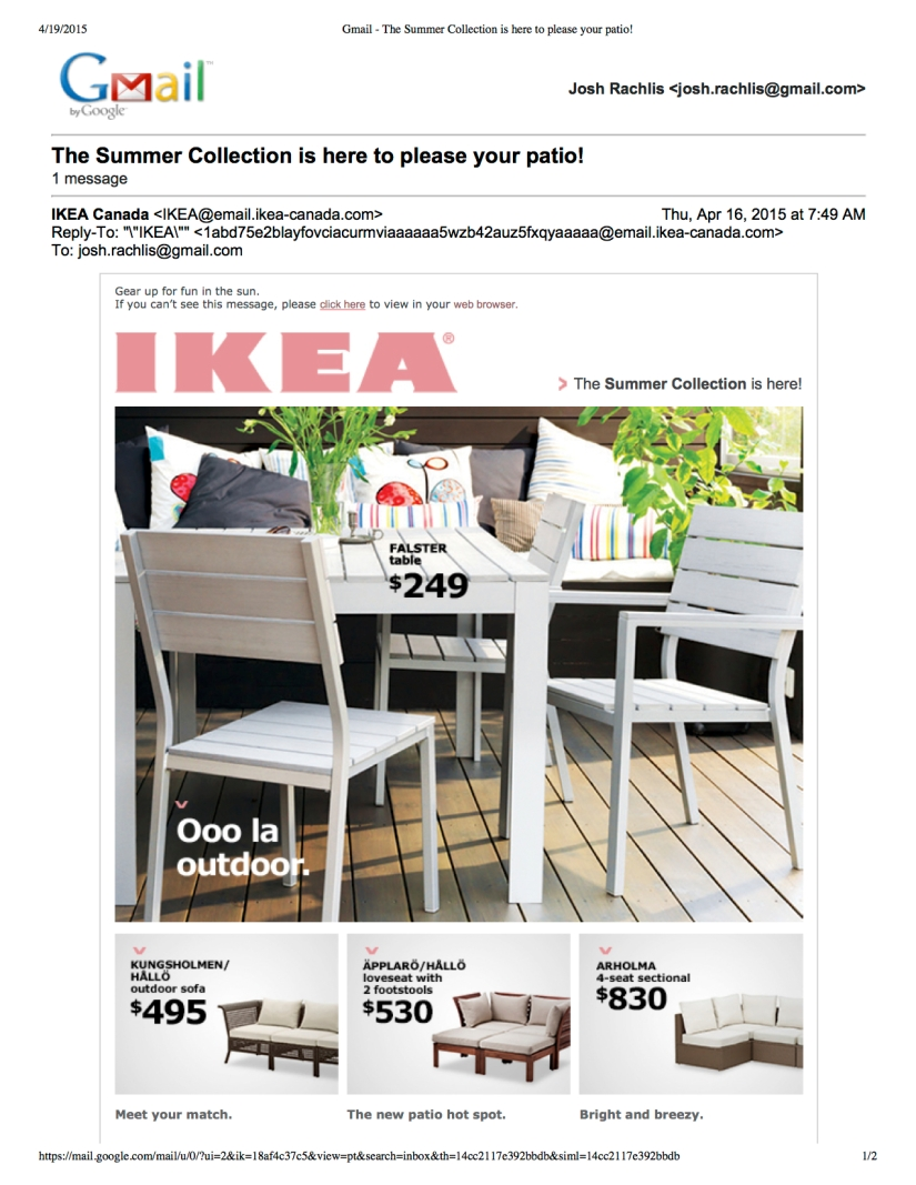 I wrote the IKEA Summer Collection e-newsletter